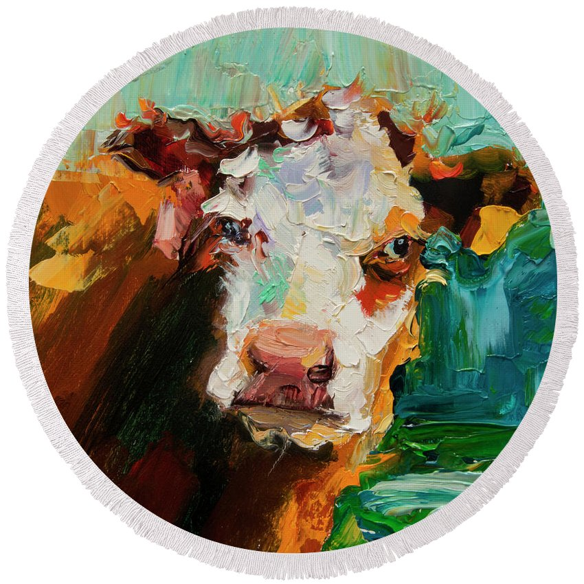 Cow Round Beach Towel featuring the painting Eye On You Cow by Diane Whitehead