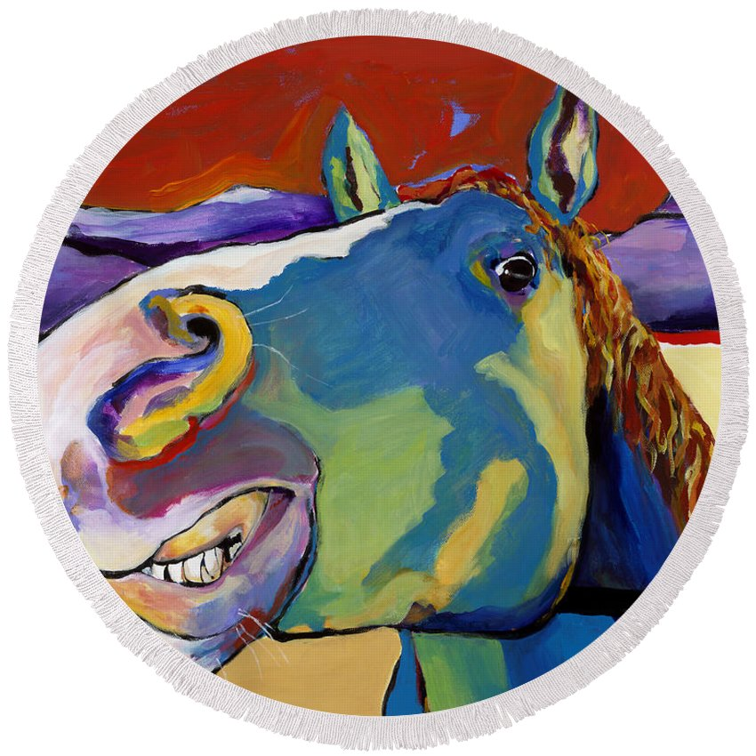 Animal Painting Round Beach Towel featuring the painting Eye To Eye by Pat Saunders-White