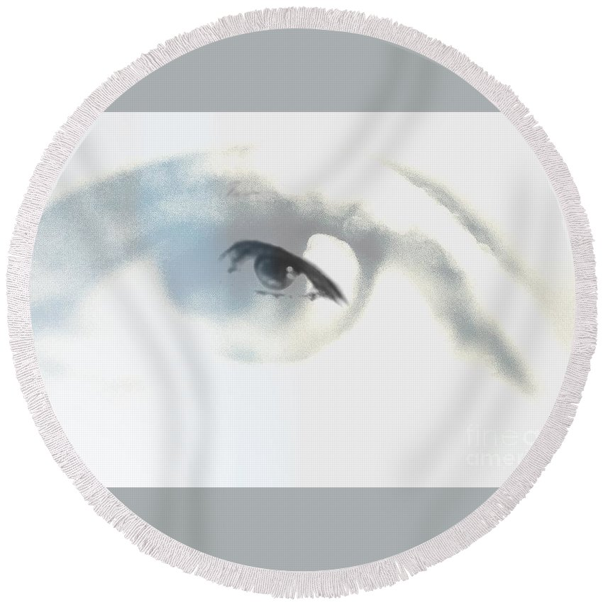 Round Beach Towel featuring the digital art Eye With In by Keevay Stierwalt