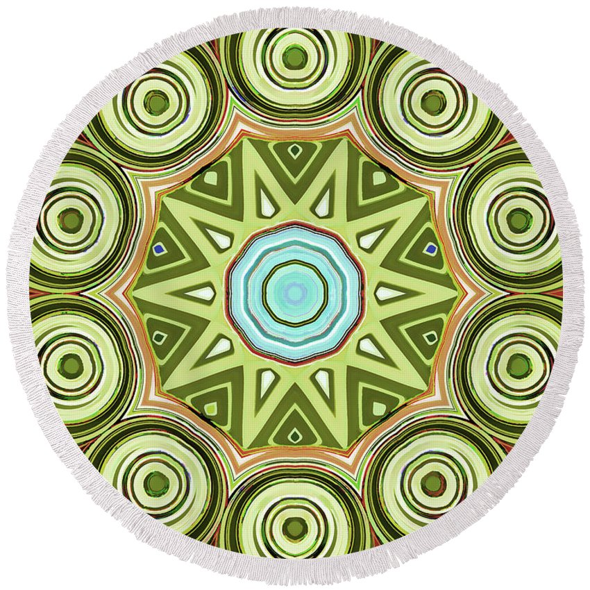 Mandala Art Round Beach Towel featuring the painting Eyes by Jeelan Clark