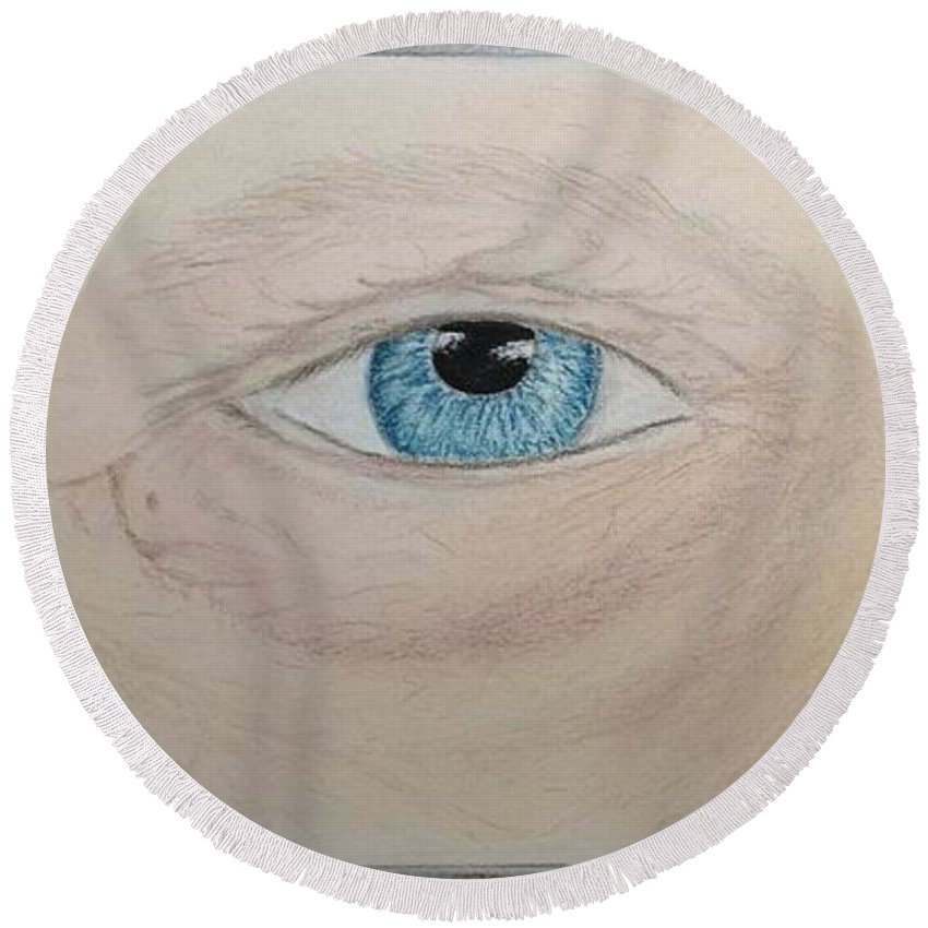Eyes Round Beach Towel featuring the pastel Eyes by Natalia Wallwork