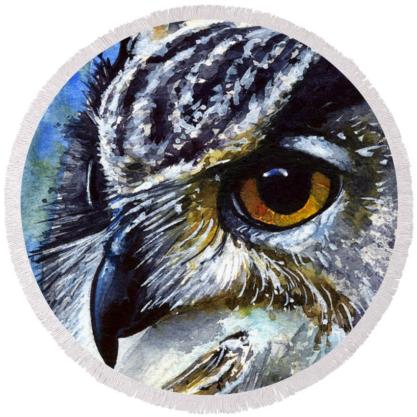 Owls Round Beach Towel featuring the painting Eyes Of Owls No.25 by John D Benson