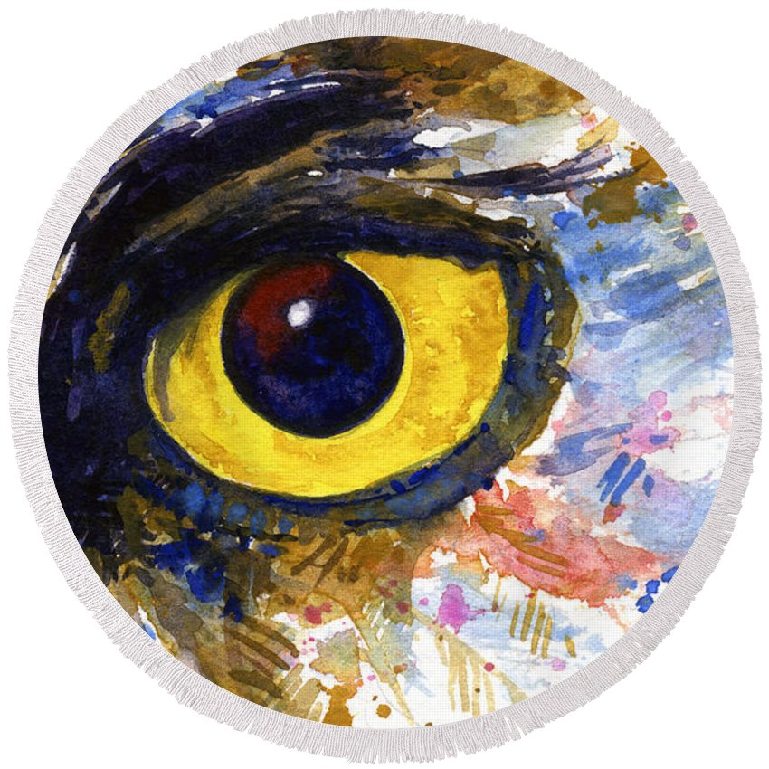 Owls Round Beach Towel featuring the painting Eyes Of Owl's No.6 by John D Benson