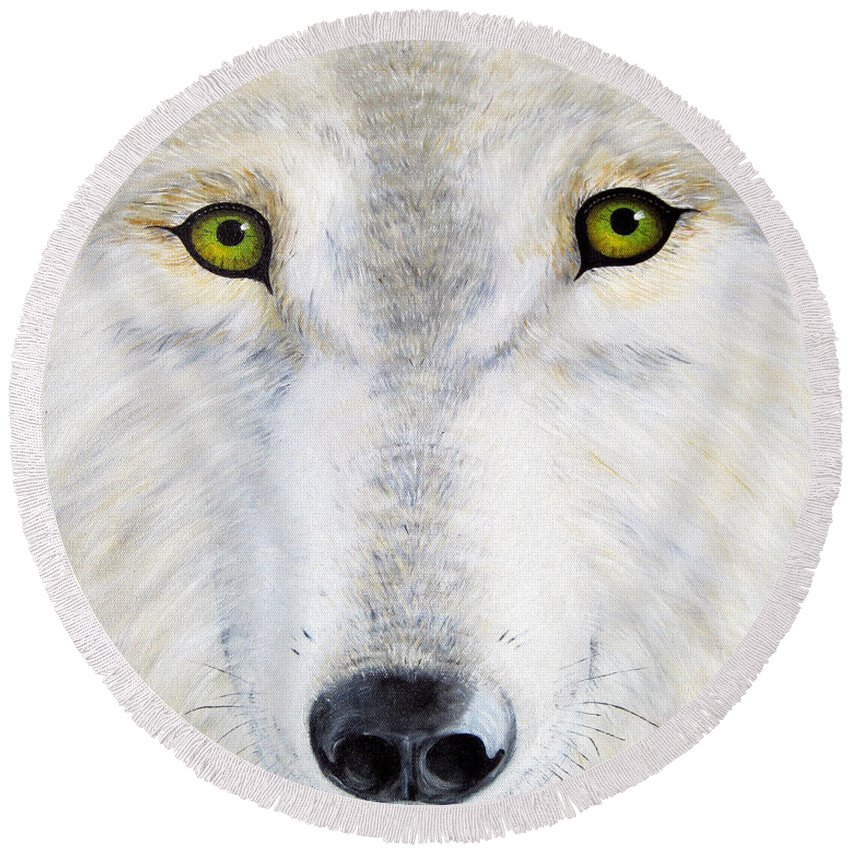 Wolf Round Beach Towel featuring the painting Eyes Of The Wolf by Jerome Stumphauzer