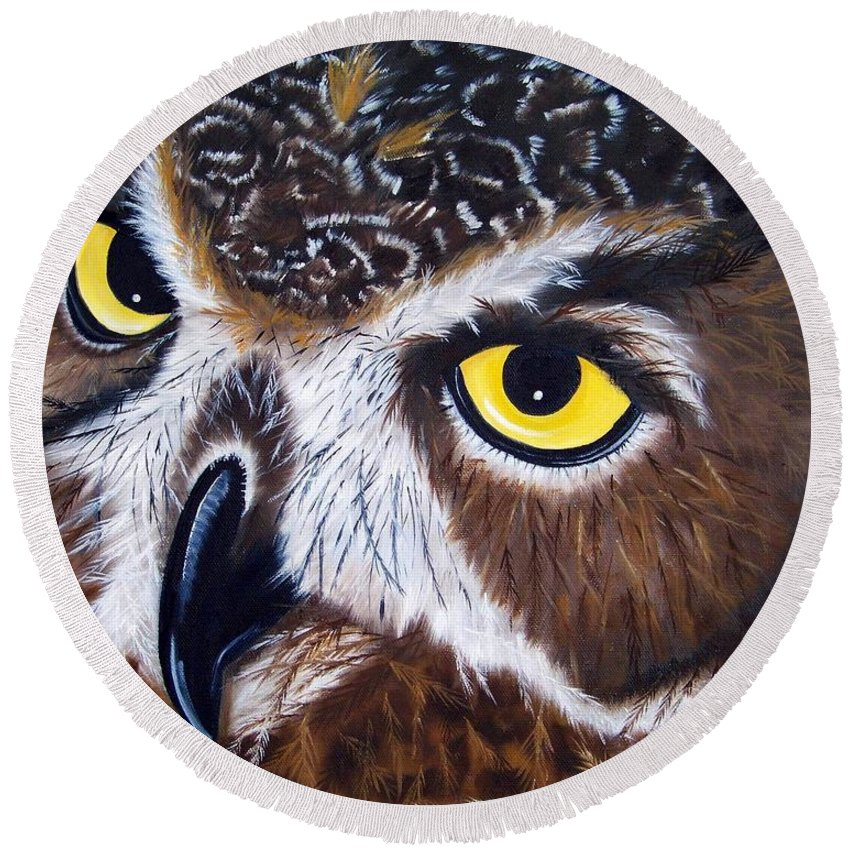 Owl Round Beach Towel featuring the painting Eyes Of Wisdom by Debbie LaFrance