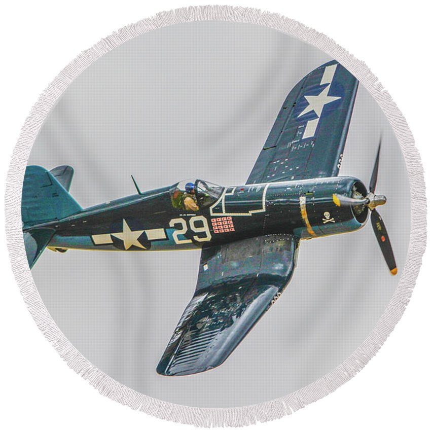 Chance Vought F-4u Corsair Round Beach Towel featuring the photograph F-4u Corsair by Tommy Anderson