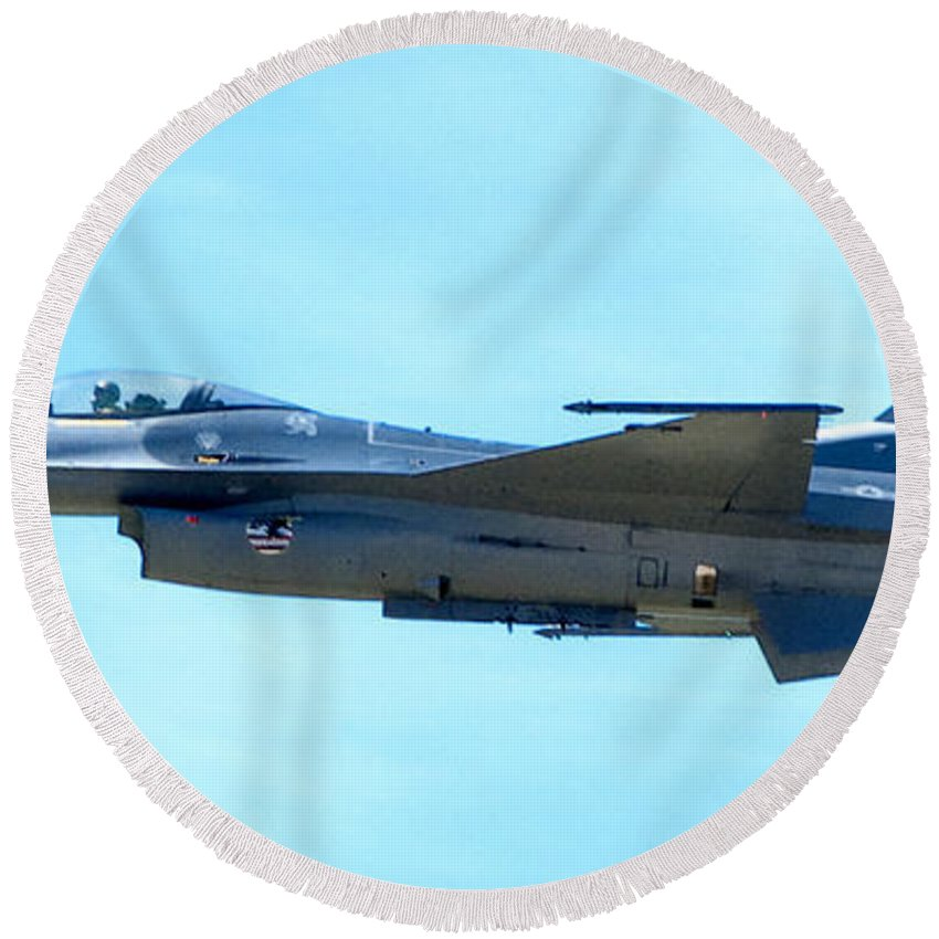 F16 Round Beach Towel featuring the photograph F16 by Greg Fortier