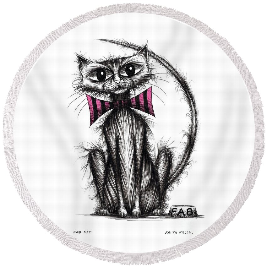 Fab Cat Round Beach Towel featuring the drawing Fab Cat by Keith Mills