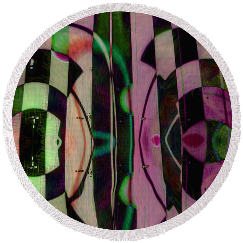 Face To Face Round Beach Towel featuring the digital art Face 2 Face by Linda Sannuti