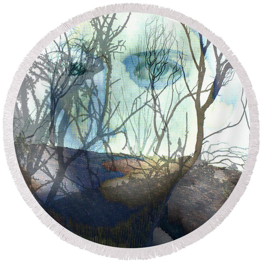Ladys Face Round Beach Towel featuring the digital art Face Of Winter by Seth Weaver