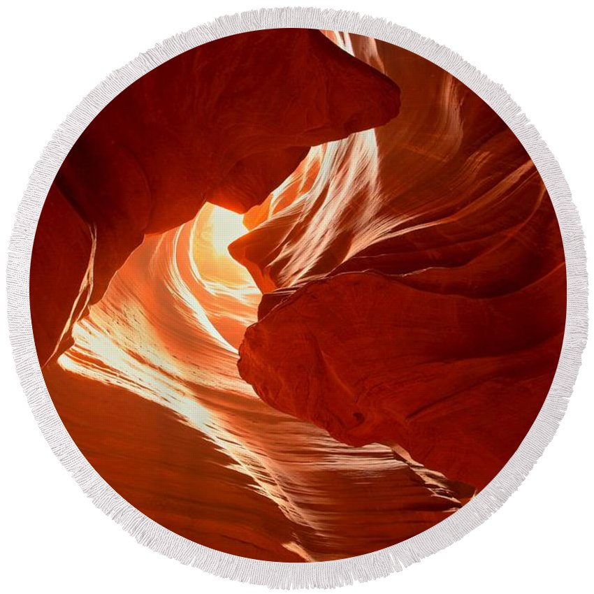 Woman In The Canyon Round Beach Towel featuring the photograph Faces Of Light by Adam Jewell
