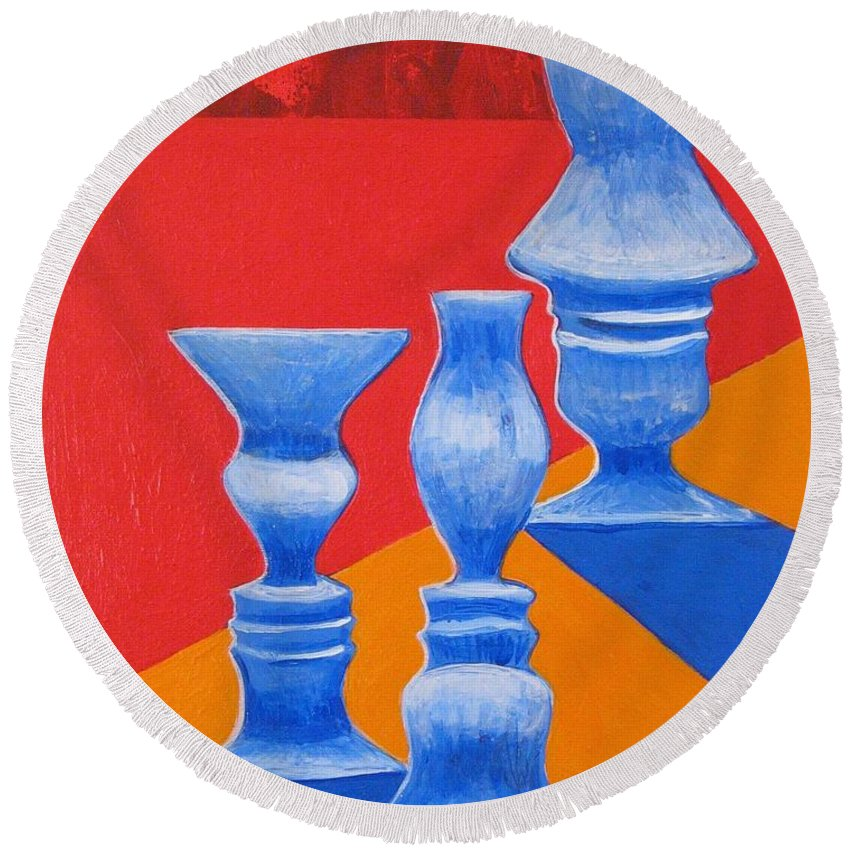 Profiles Round Beach Towel featuring the painting Faces Vases by Rollin Kocsis