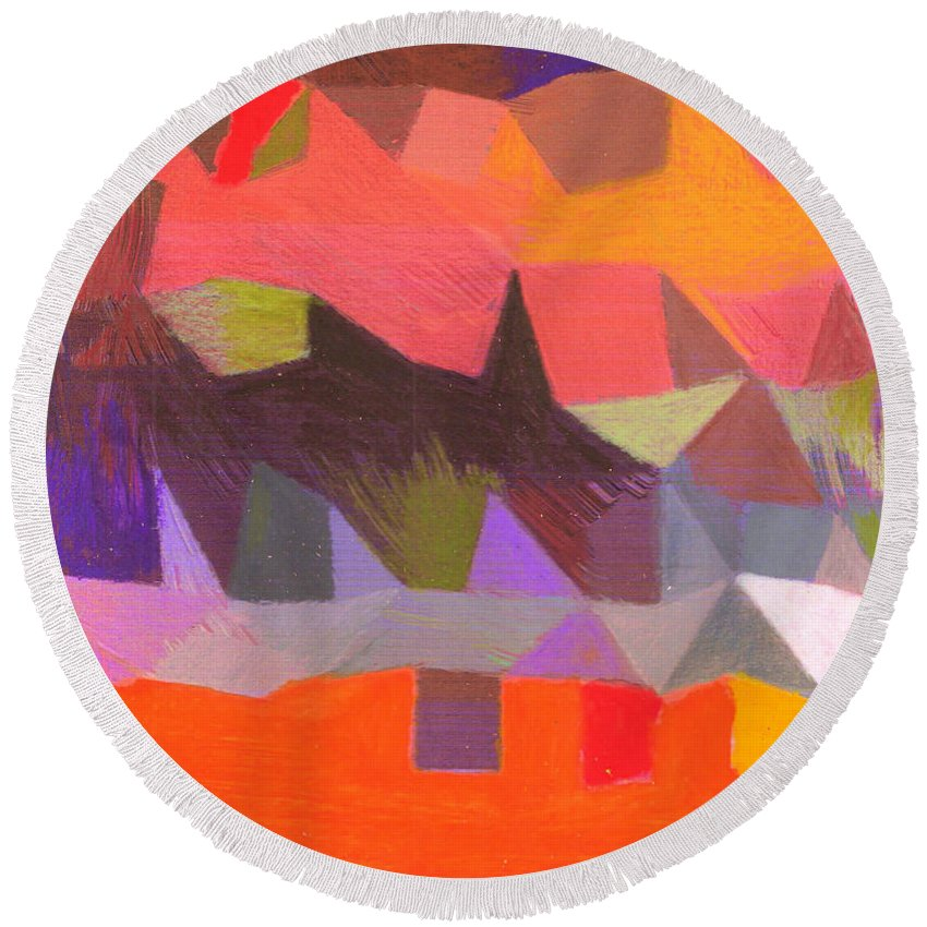 Painting Round Beach Towel featuring the painting Facet 20180501 by John Warren OAKES