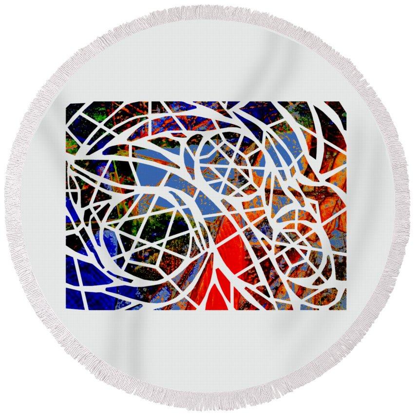 Abstract Round Beach Towel featuring the digital art Facets by Cecilia Swatton