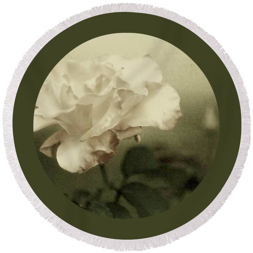 Rose Round Beach Towel featuring the photograph Faded Rose by Mary Wolf