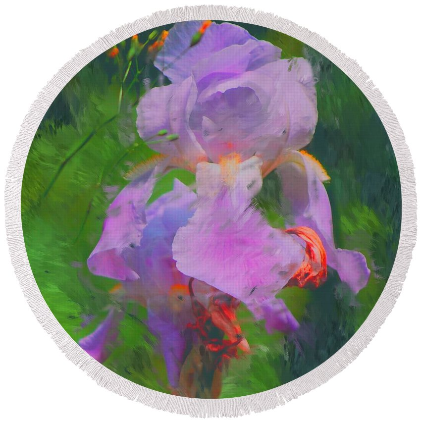 Iris Round Beach Towel featuring the painting Fading Glory by David Lane