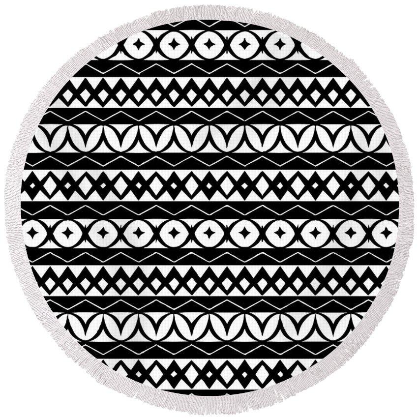 Tribal Digital Art Round Beach Towels