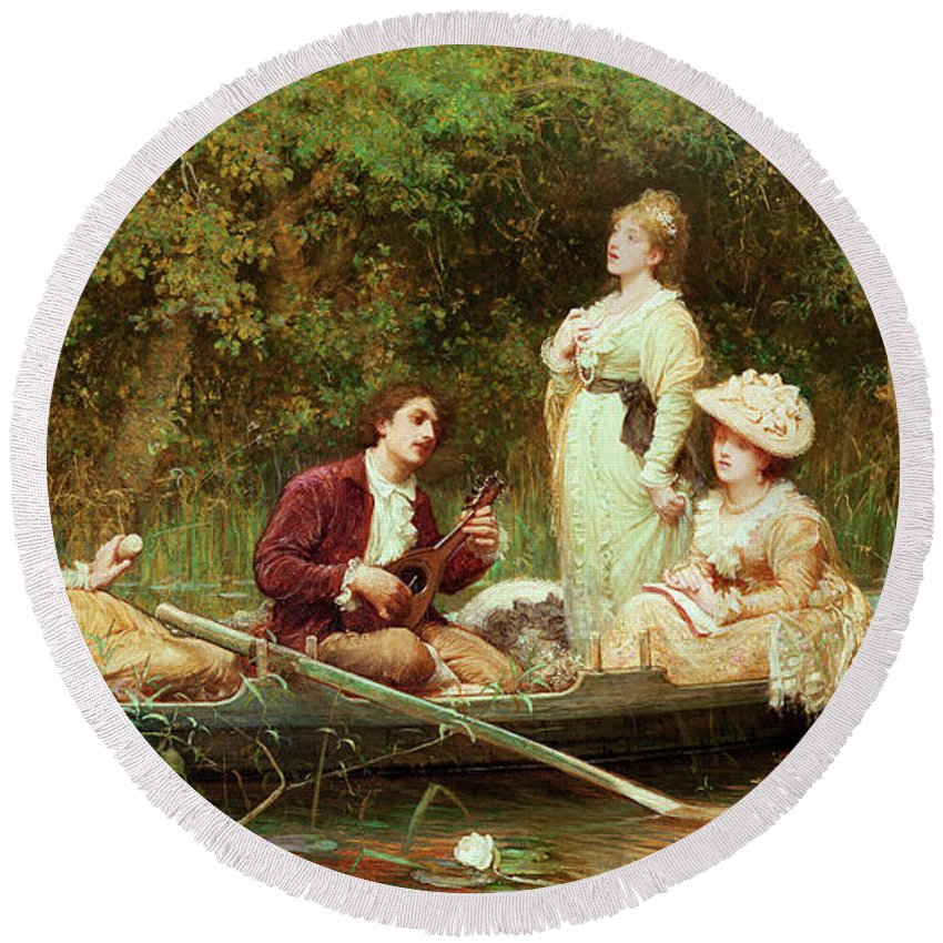 Swan Round Beach Towel featuring the painting Fair, Quiet And Sweet Rest by Samuel Luke Fildes