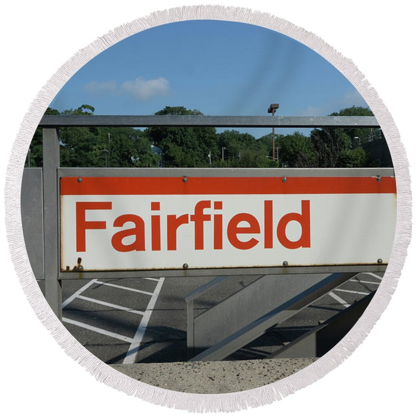 Fairfield Round Beach Towel featuring the photograph Fairfield Train Station by Sue Schwer