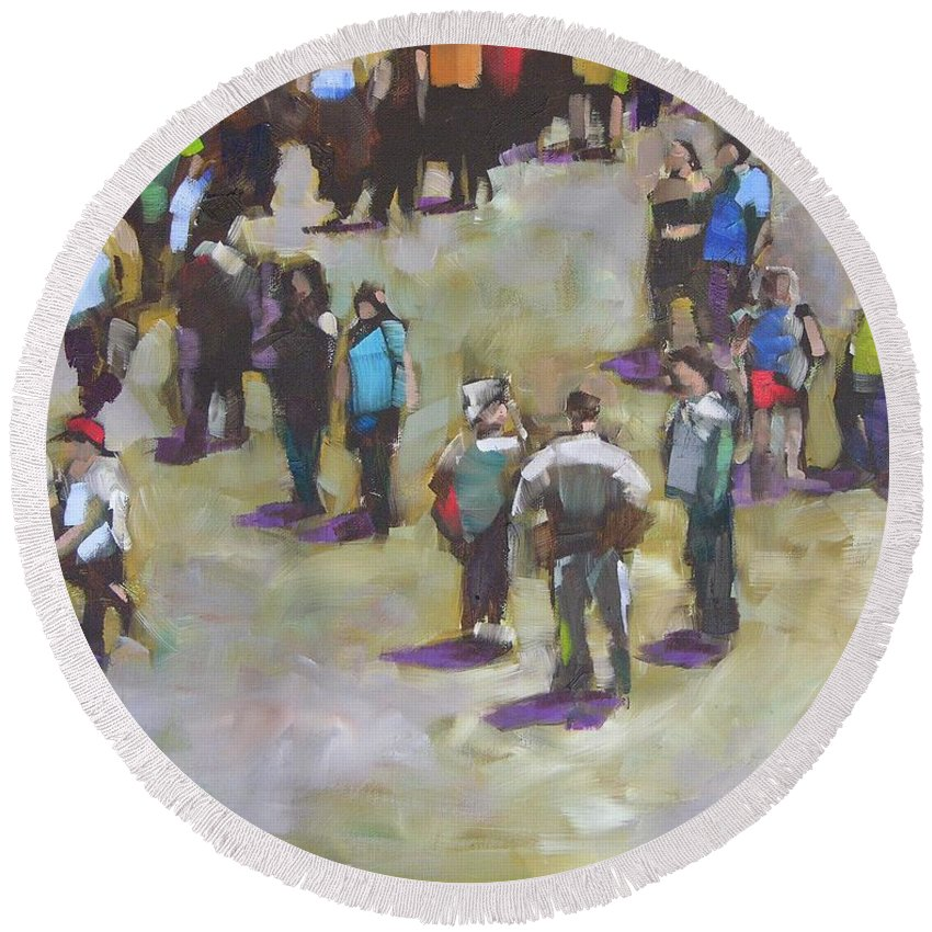 Oil Round Beach Towel featuring the painting Fairgoers by Mary McInnis