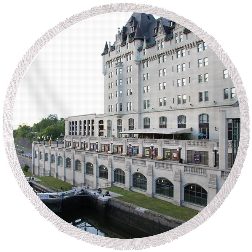 Fairmont Chateau Laurier Round Beach Towel featuring the photograph Fairmont Chateau Laurier - Ottawa by Christiane Schulze Art And Photography