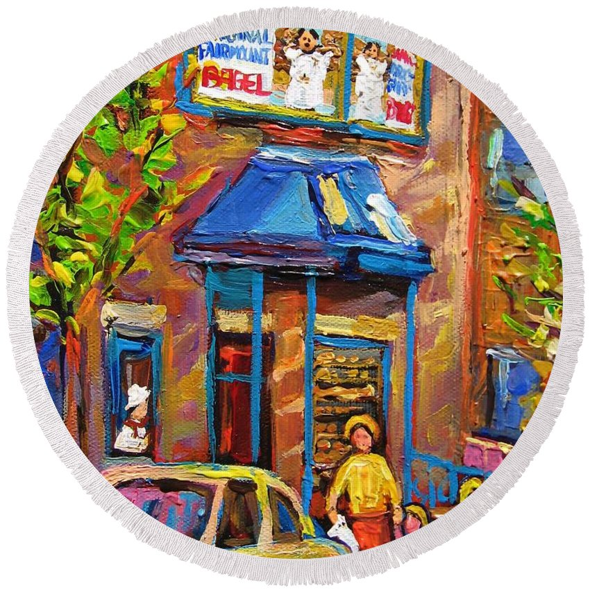 Fairmount Bagel Round Beach Towel featuring the painting Fairmount Bagel Fairmount Street Montreal by Carole Spandau