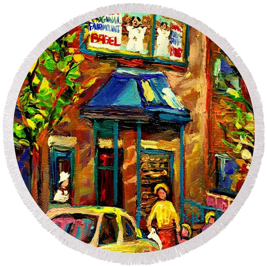 Fairmount Bagel Round Beach Towel featuring the painting Fairmount Bagel In Montreal by Carole Spandau