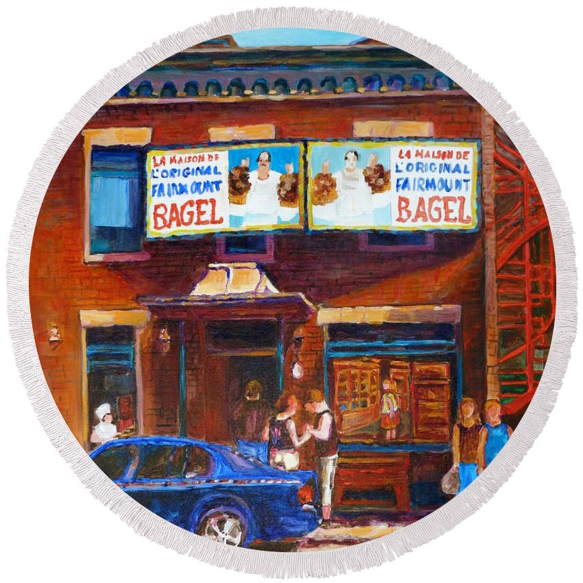 Fairmount Bagel Round Beach Towel featuring the painting Fairmount Bagel With Blue Car by Carole Spandau