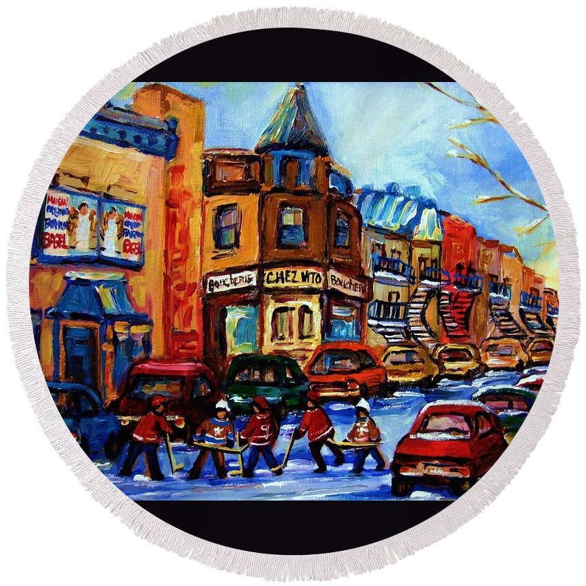 Hockey Round Beach Towel featuring the painting Fairmount Bagel With Hockey Game by Carole Spandau