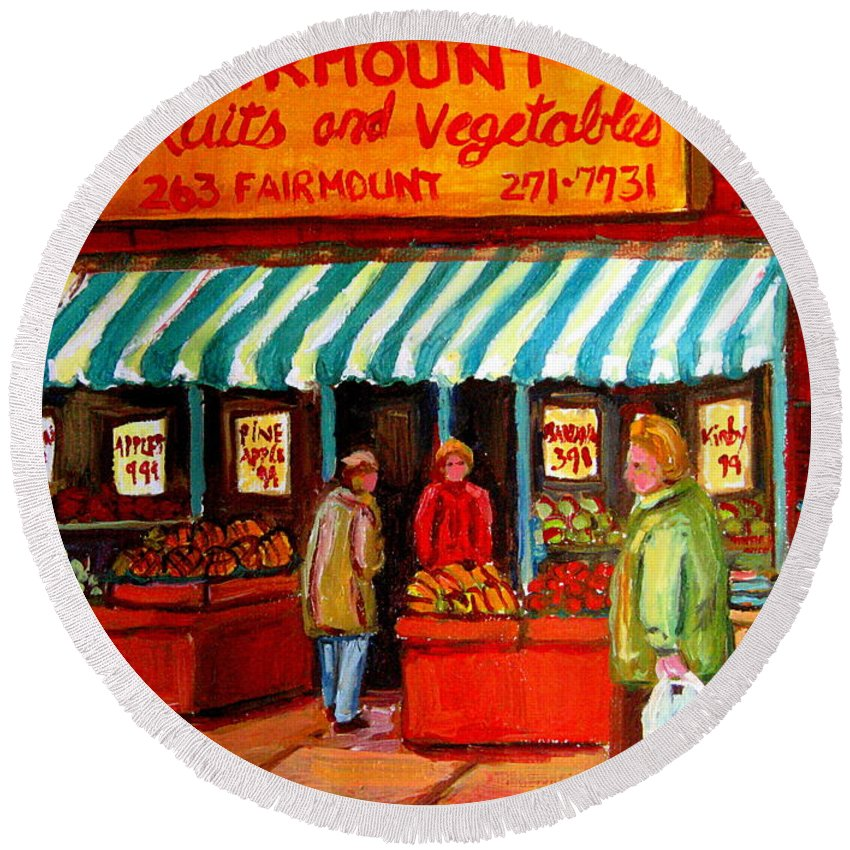 Fairmount Fruits And Vegetables Round Beach Towel featuring the painting Fairmount Fruit And Vegetables by Carole Spandau