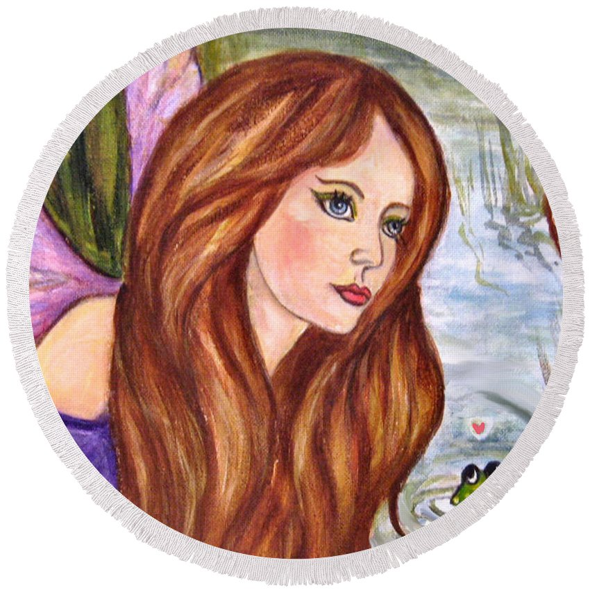 Swamp Fairy Round Beach Towel featuring the painting Fairy by Frances Gillotti