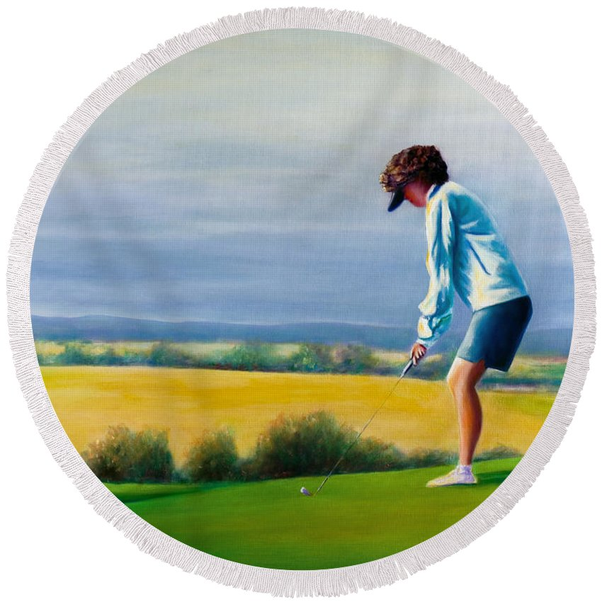 Golfer Round Beach Towel featuring the painting Fairy Golf Mother by Shannon Grissom