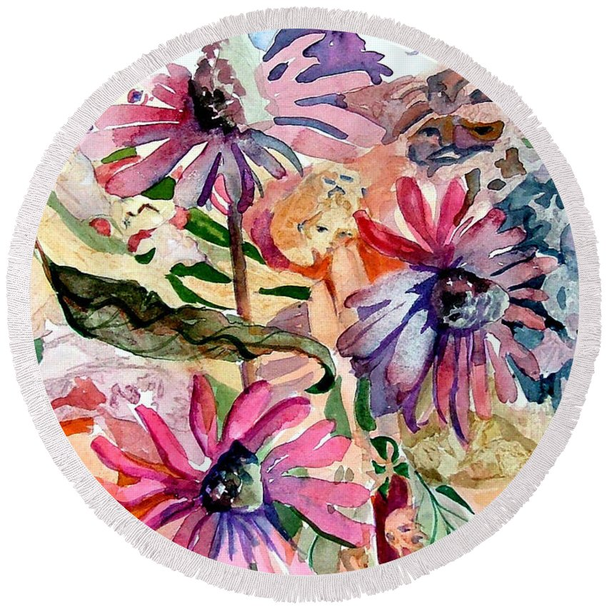 Daisy Round Beach Towel featuring the painting Fairy Land by Mindy Newman