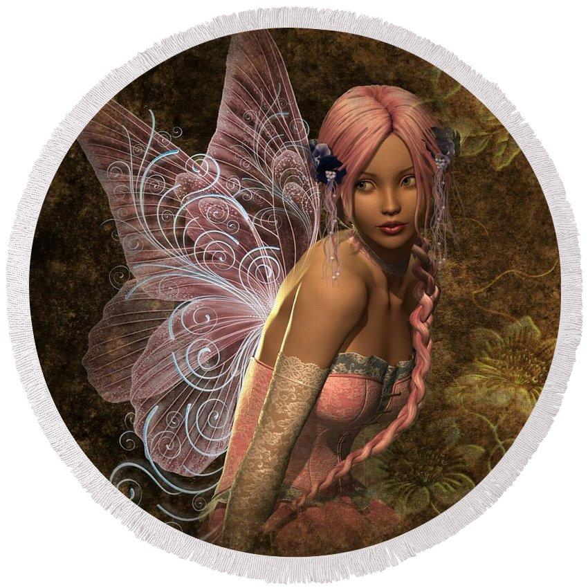 Mystic Round Beach Towel featuring the digital art Fairy Lite by Ali Oppy