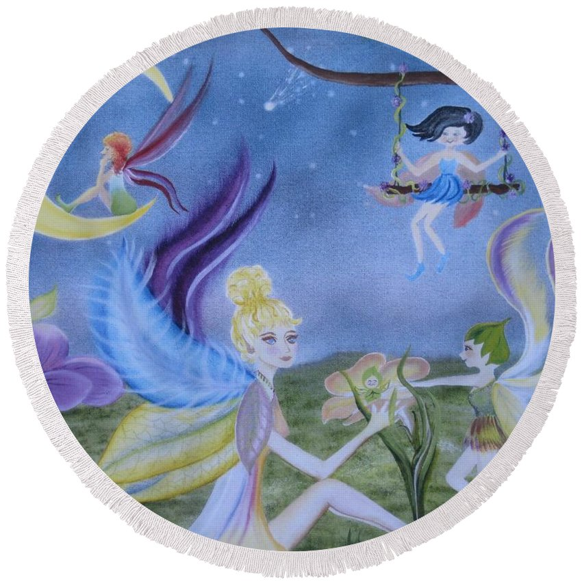 Fairies Round Beach Towel featuring the painting Fairy Play by RJ McNall