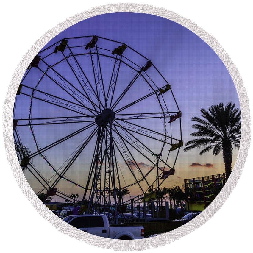 Blue Round Beach Towel featuring the photograph Fajitaville Ferris Wheel 2 by Leticia Latocki