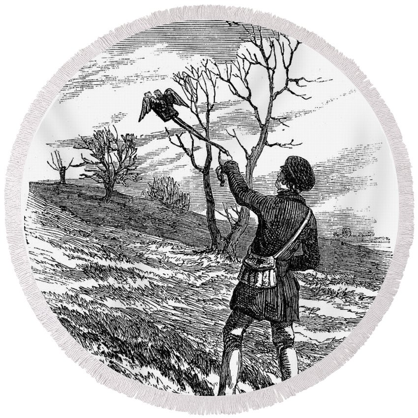 1850 Round Beach Towel featuring the photograph Falconry, 1850 by Granger