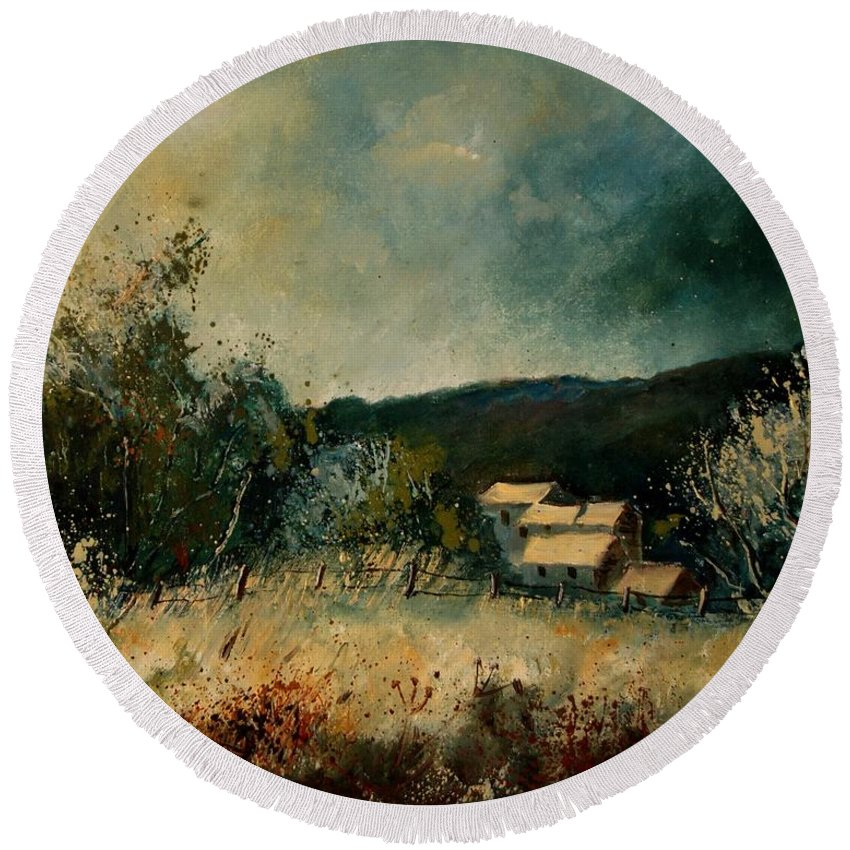 Village Round Beach Towel featuring the painting Fall 4590 by Pol Ledent