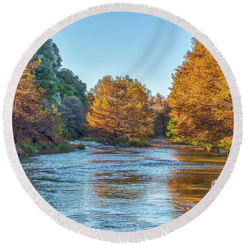 Con Can Round Beach Towel featuring the photograph Fall Along The Frio River by Tod and Cynthia Grubbs