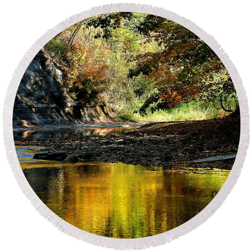 Autumn; Landscape; Creek; Autumn; Big Creek; Liberty Hollow; Ohio; Reflection; Round Beach Towel featuring the photograph Fall At Big Creek by Bruce Patrick Smith