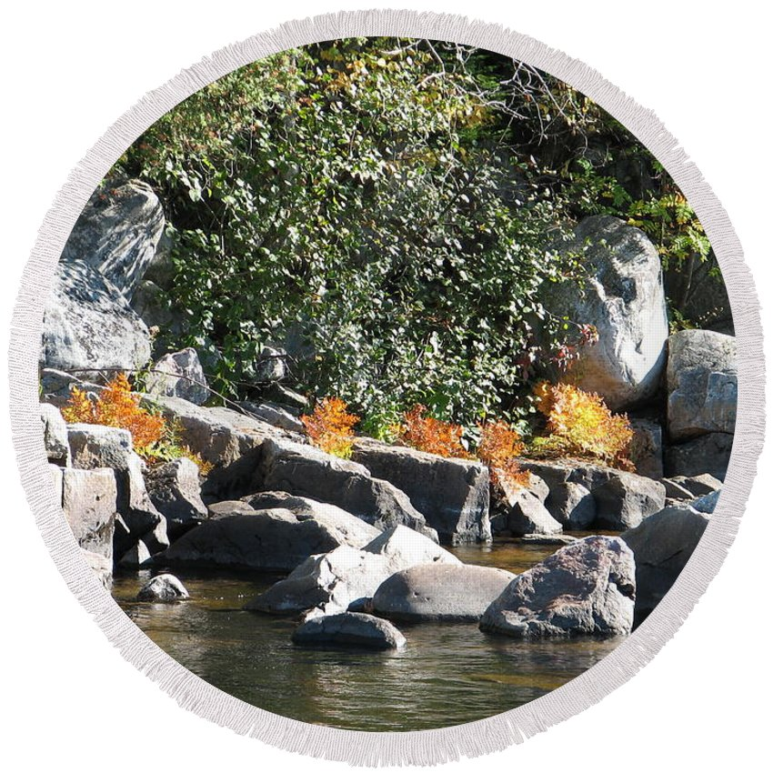 Creek Round Beach Towel featuring the photograph Fall At The Creek by Kelly Mezzapelle