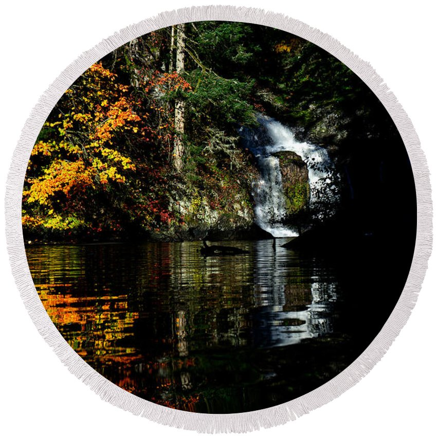 Waterfall Round Beach Towel featuring the photograph Fall At The Falls by Mumbles and Grumbles