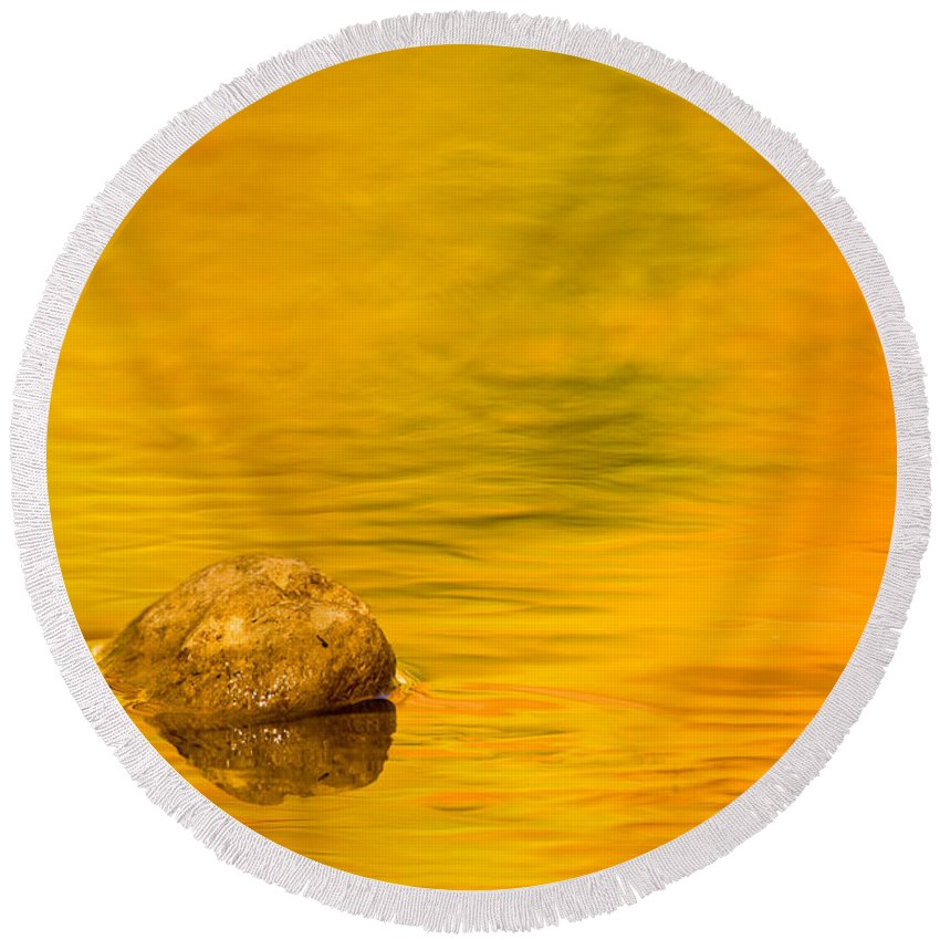 3scape Photos Round Beach Towel featuring the photograph Fall Color Abstract by Adam Romanowicz