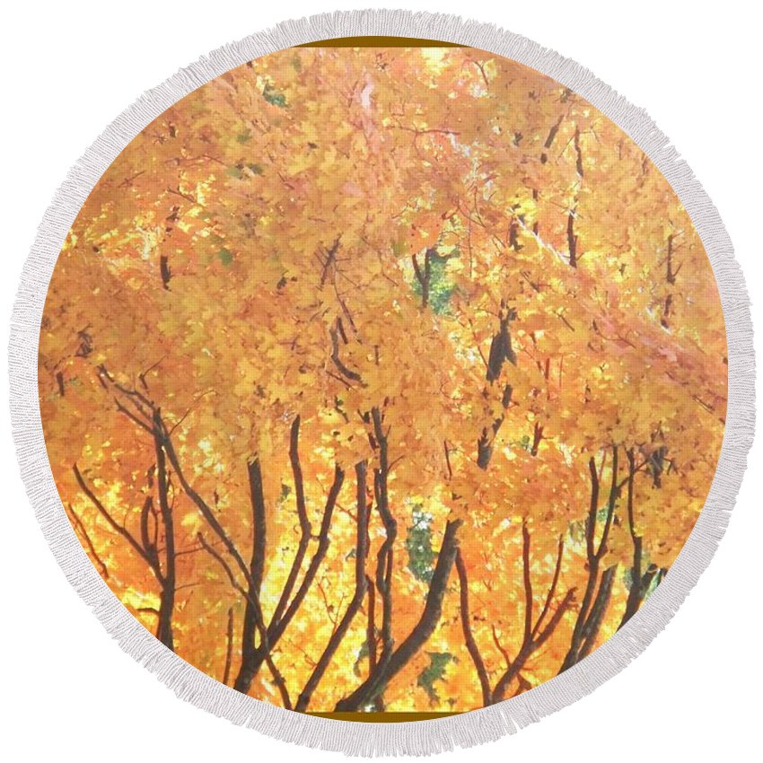 Nature Round Beach Towel featuring the painting Fall Colors At Cape May by Eric Schiabor