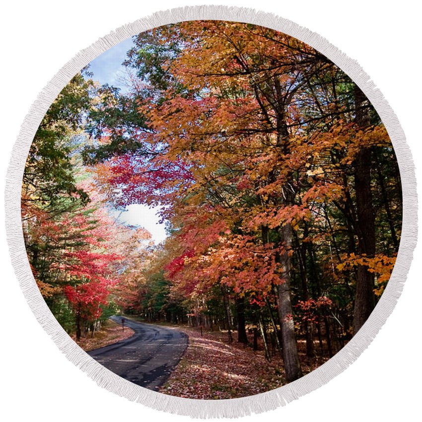 Autumn Round Beach Towel featuring the photograph Fall Colors Backroad by Rikk Flohr