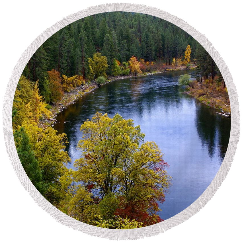 Nature Round Beach Towel featuring the photograph Fall Colors On The River by Ben Upham III