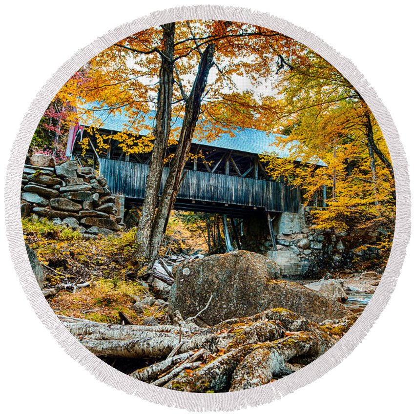 #jefffolger #vistaphotography Round Beach Towel featuring the photograph Fall Colors Over The Flume Gorge Covered Bridge by Jeff Folger