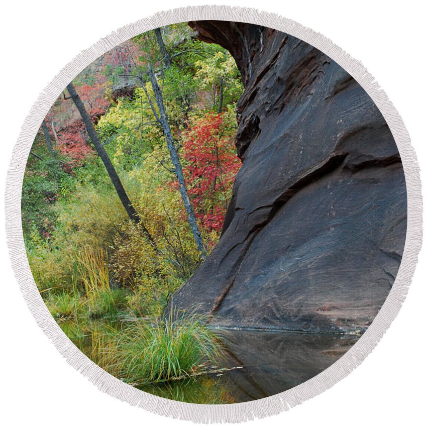 Landscape Round Beach Towel featuring the photograph Fall Colors Peek Around Mountain Vertical by Heather Kirk