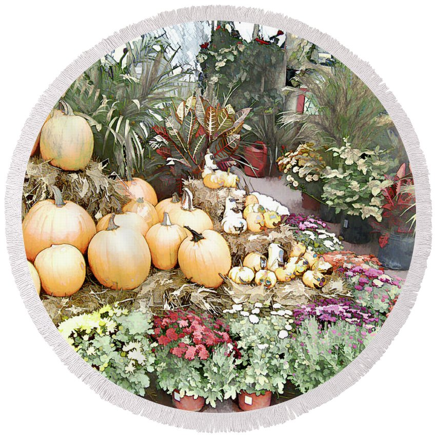 Market Display Round Beach Towel featuring the photograph Fall Decorating At The Market by Leslie Montgomery