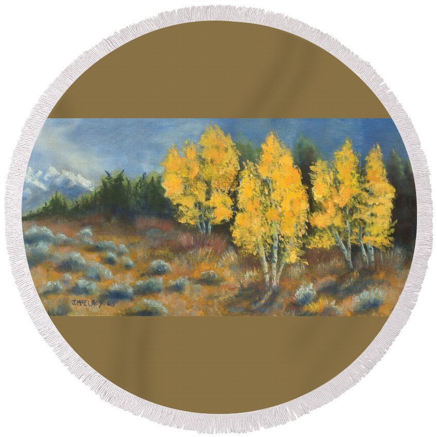 Landscape Round Beach Towel featuring the painting Fall Delight by Jerry McElroy